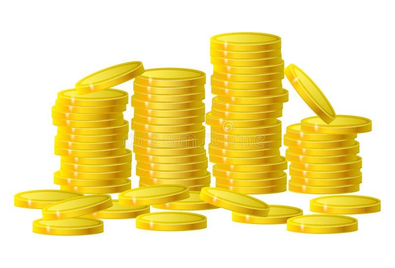 Les pièces d'or encaissent l'argent dans la colonne d'isolement sur le blanc Illust de vecteur illustration libre de droits