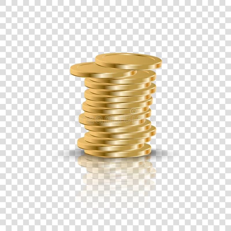 Les pièces d'or réalistes empilent sur le contexte transparent illustration libre de droits