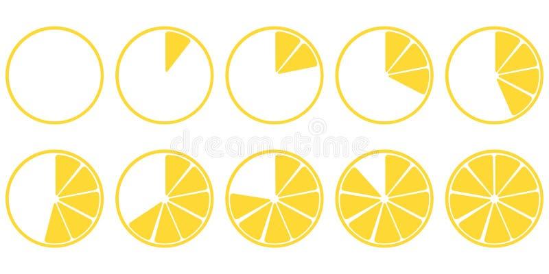 Les pièces de chargement de citron d'icônes ont placé dix morceaux illustration de vecteur