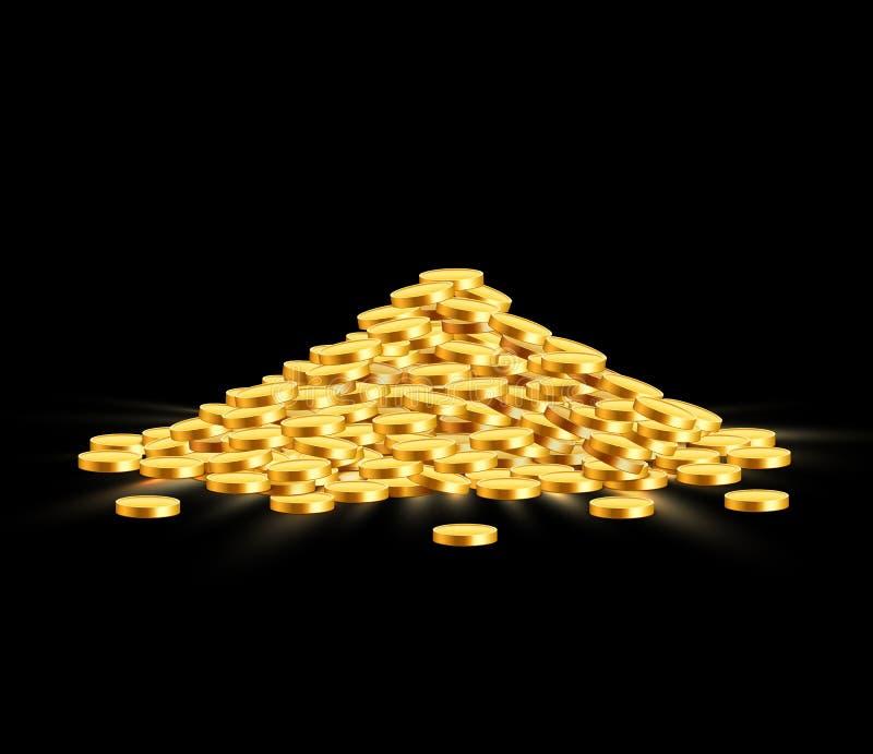 Les pièces de monnaie brillantes d'or avec l'étoile signe dedans le tas Grand groupe de vieil argent en m?tal Trésor cher précieu illustration libre de droits