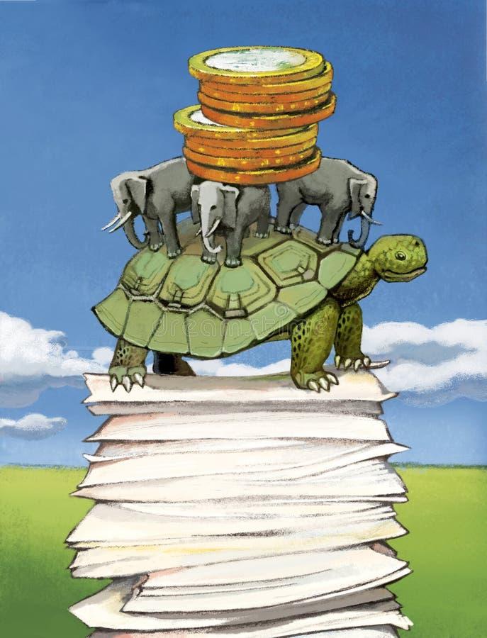 Les pièces de monnaie d'argent se situent dans un tas sur des éléphants et une grande tortue La tortue est sur une pile de docume photographie stock libre de droits