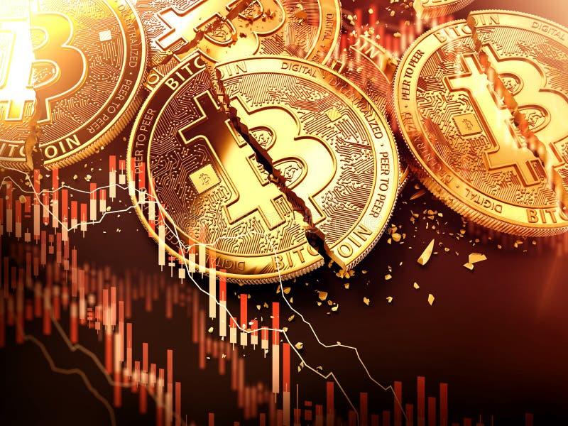Les pièces de monnaie d'or fendues ou endommagées de Bitcoin et les diagrammes rouges de tendance à la baisse ont recouvert Perte illustration stock