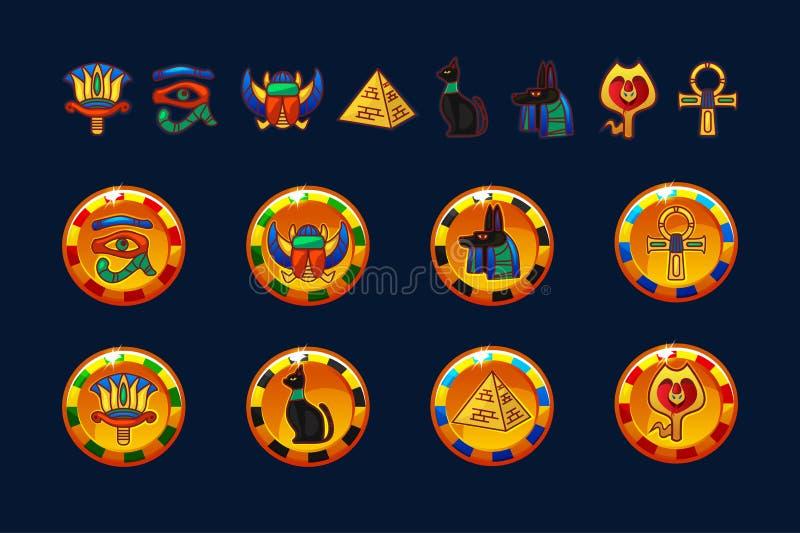 Les pièces de monnaie de l'Egypte et les icônes d'or d'ensemble ont isolé Collection d'icônes d'Egypte antique - pyramide, scarab illustration de vecteur