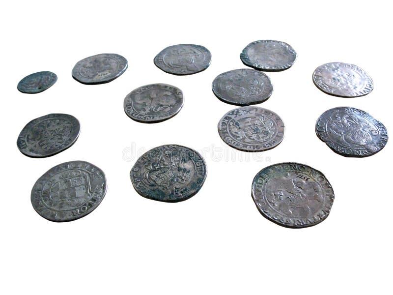 les pièces de monnaie ont isolé vieux médiéval images libres de droits