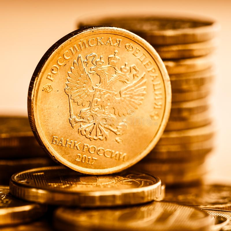 Les pièces de monnaie de rouble russe photographie stock