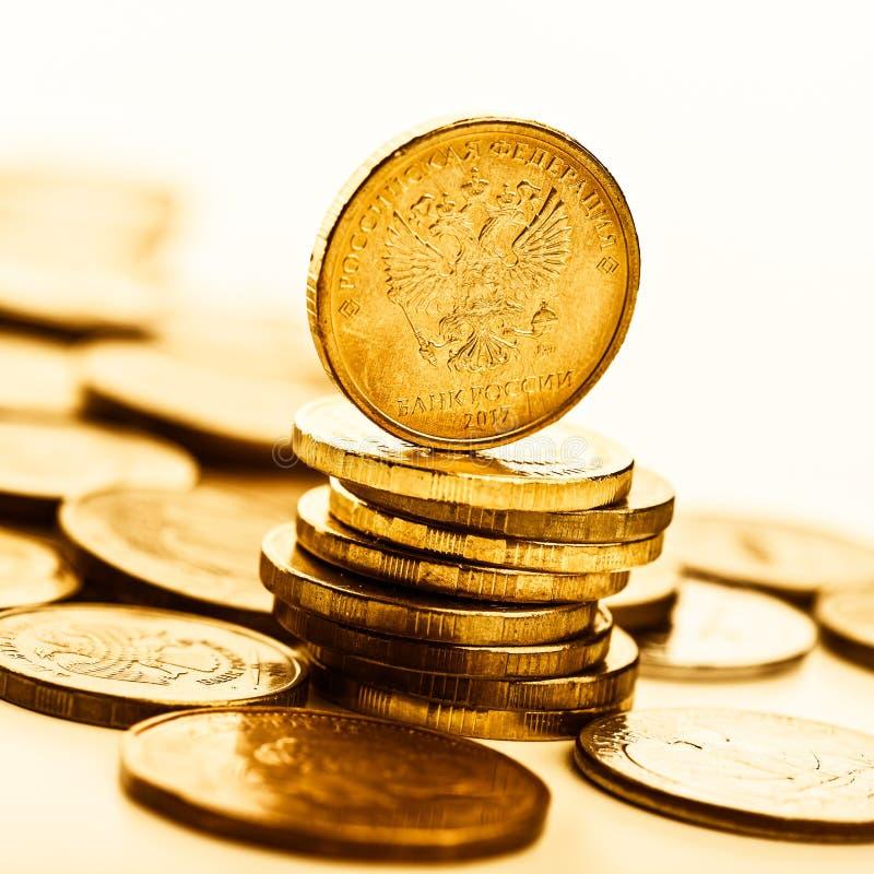 Les pièces de monnaie de rouble russe photographie stock libre de droits