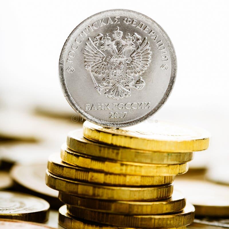 Les pièces de monnaie de rouble russe photo stock