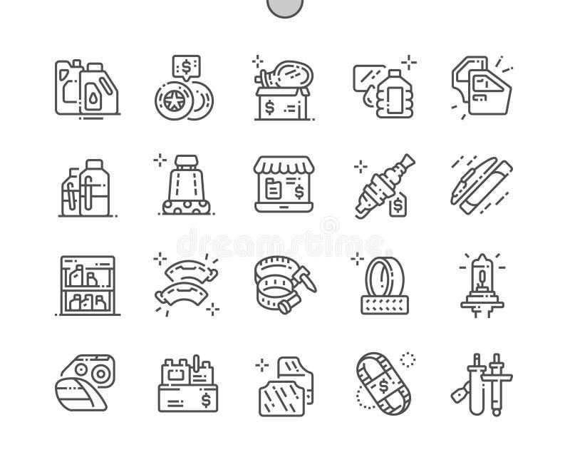 Les pièces de voiture font des emplettes ligne mince Bien-ouvrée icônes de vecteur parfait de pixel illustration de vecteur