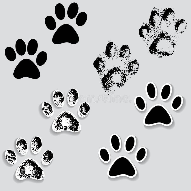 Les pieds animaux de voie de patte de chat impriment des ic nes avec l 39 ombre illustration de - Trace de patte de chat ...