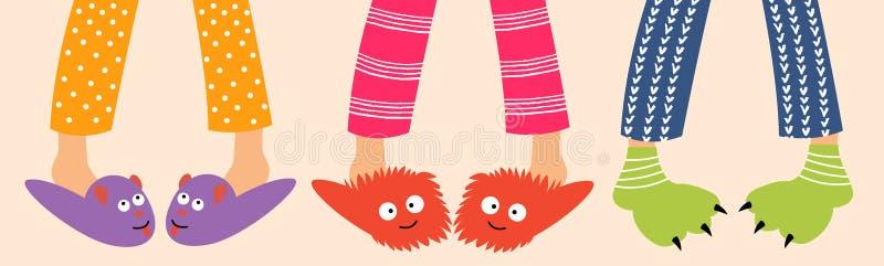 Les pieds des enfants en chaussons amusants illustration stock