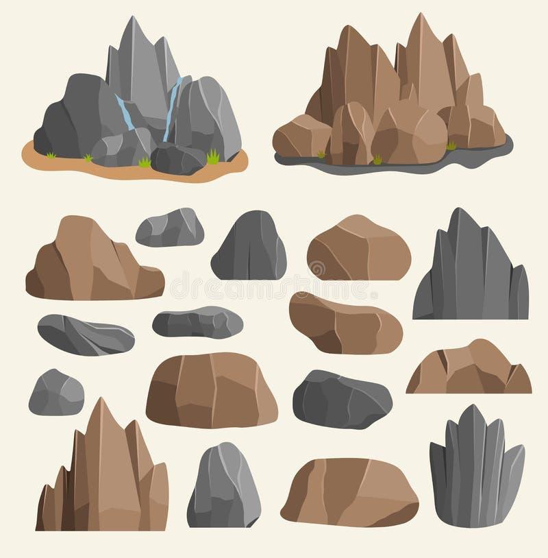 Les pierres bascule dans la pile de minerai de grand bâtiment de style de bande dessinée Roches naturelles de Boulder et illustra illustration de vecteur
