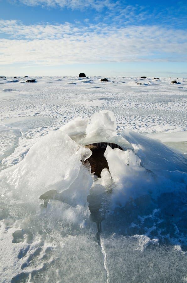 Pierres dans la glace sur la côte image libre de droits