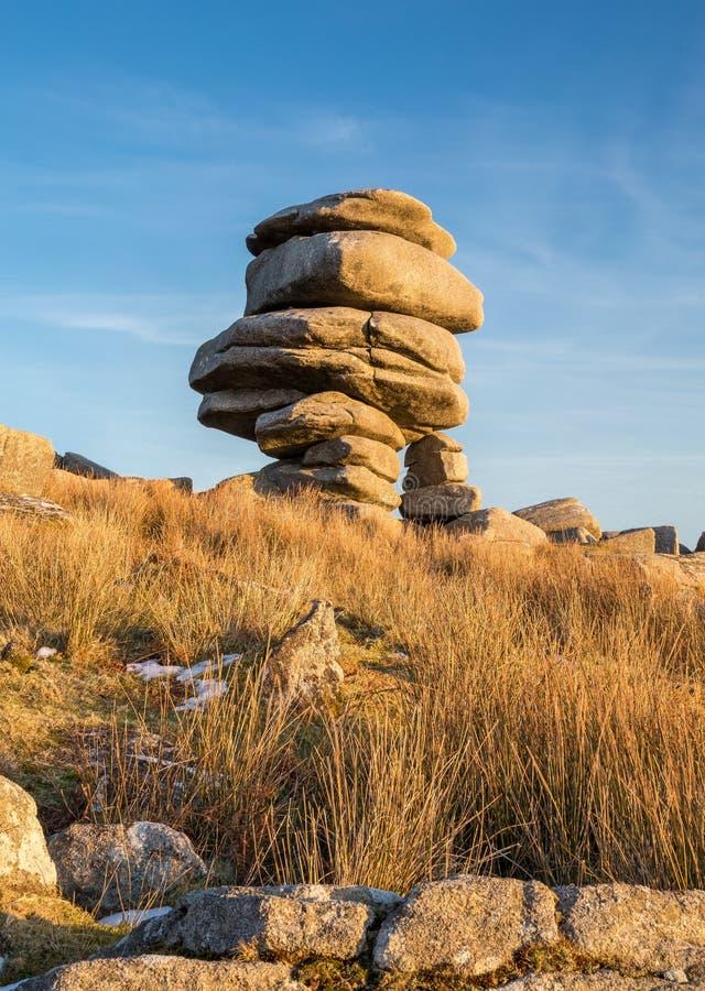 Les pierres dans la lumière de fin de l'après-midi, le Cheesewring, Bodmin amarrent, Co photo libre de droits