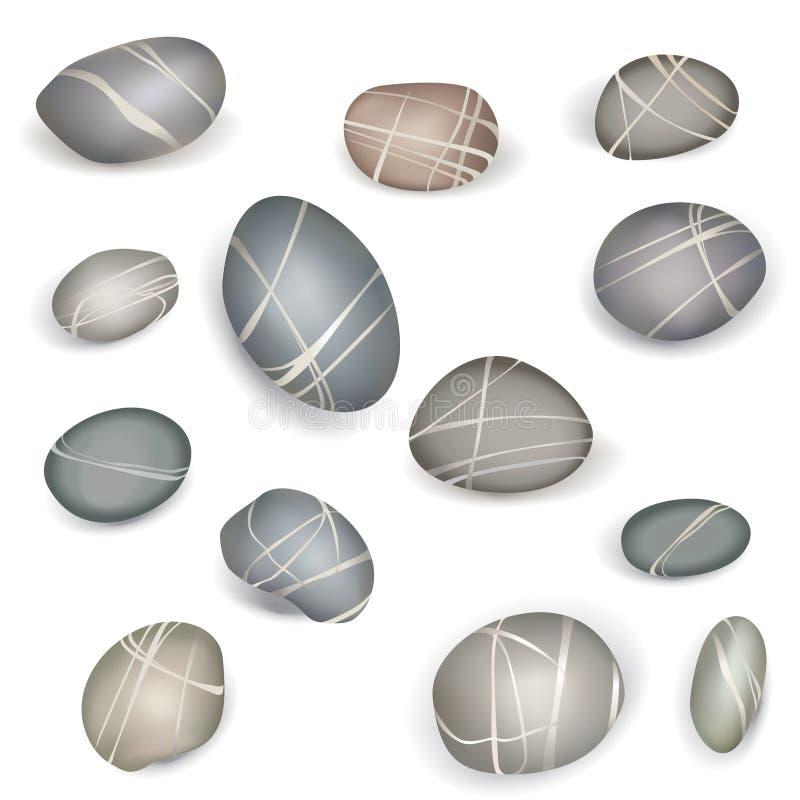Les pierres de cailloux sur le fond blanc conçoivent le vecteur IL d'ensemble d'éléments illustration de vecteur