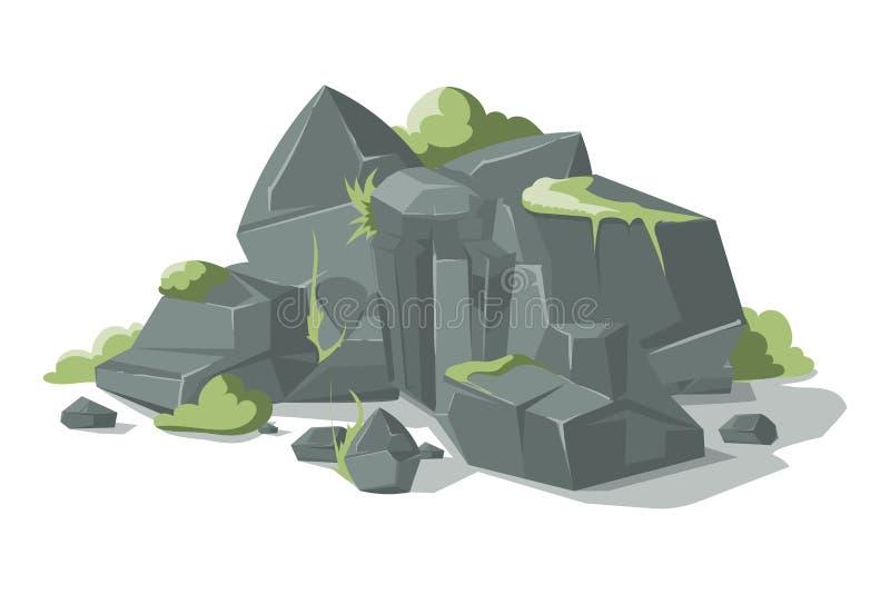 Les pierres et la bande dessinée grises de roches dirigent le rocher de nature avec l'herbe illustration libre de droits