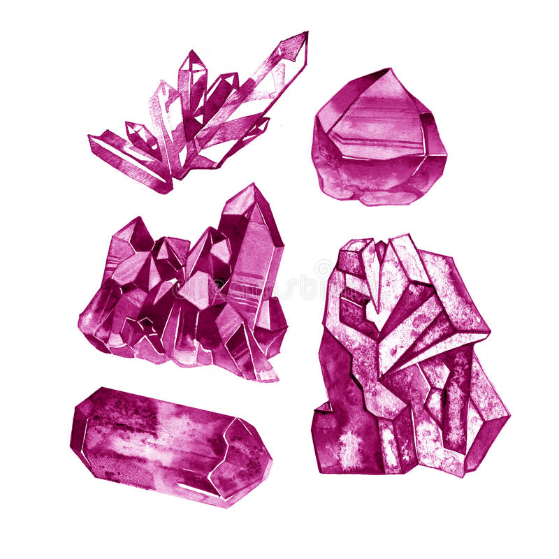 Les pierres gemmes rouges rouges ont isolé l'aquarelle Crystal Mineral Illustration illustration libre de droits