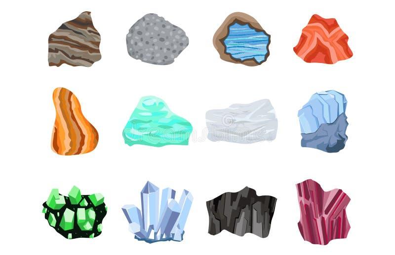Les pierres gemmes semi précieuses de Collectionof dirigent les pierres et le cristal matériel de géologie d'agate de bijoux bril illustration libre de droits