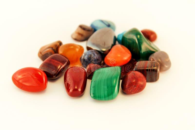 Les pierres semi précieuses/Crystal Stone Types/pierres curatives, pierres d'inquiétude, pierres de paume, considèrent des pierre image stock