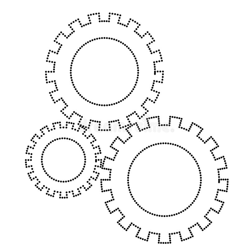 Les pignons ont placé la silhouette monochrome d'icône pointillée illustration de vecteur