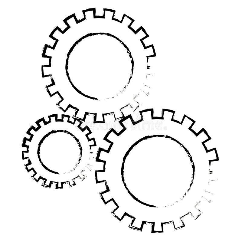Les pignons ont placé le monochrome brouillé par silhouette illustration de vecteur