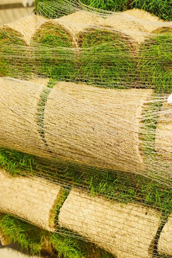 Les piles de gazon roule pour la nouvelle pelouse photographie stock