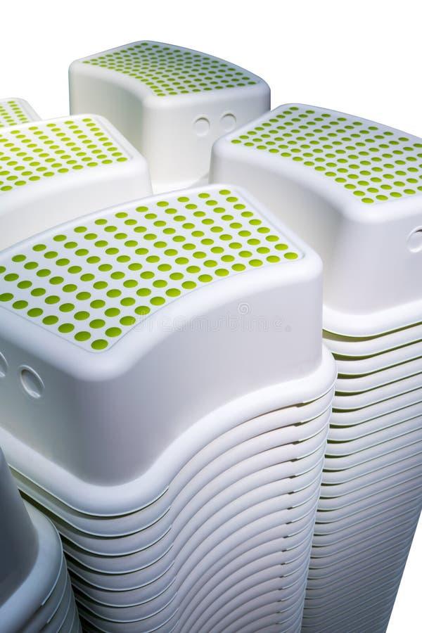 Les piles de mini forme carrée court-circuitent des selles avec le tapotement vert de point de polka photographie stock