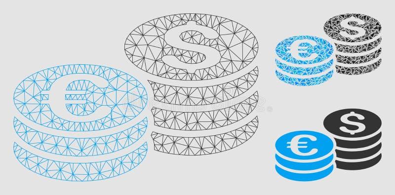 Les piles de pièce de monnaie du dollar et d'euro dirigent icône de mosaïque de modèle et de triangle de maille la 2D illustration de vecteur