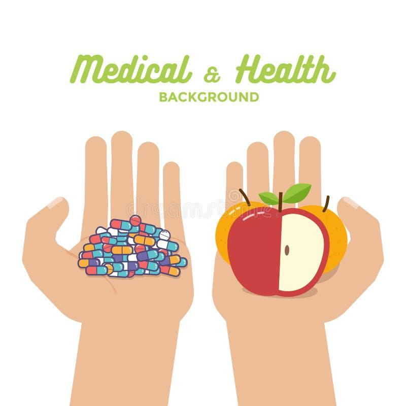 Les pilules colorées marque sur tablette des capsules et des oranges saines de pomme de fruits dans des mains Durée saine illustration stock