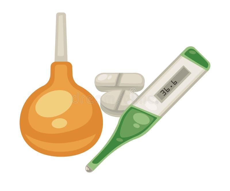 Les pilules de lavement et de thermomètre ont isolé la médecine et le traitement d'objets illustration stock
