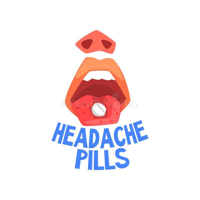 Les pilules de mal de tête, douleur de personne de mal de tête, migraine, problèmes de santé dirigent l'illustration illustration stock