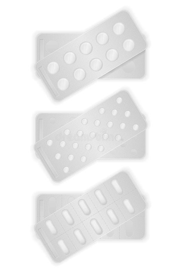 Les pilules médicales en paquet pour le traitement dirigent l'illustration illustration libre de droits
