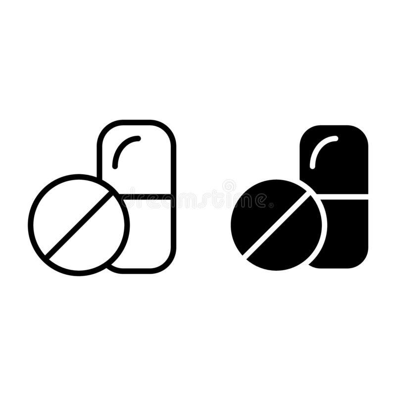 Les pilules rayent et l'icône de glyph Illustration de vecteur de symbole de capsule d'isolement sur le blanc Conception de style illustration de vecteur
