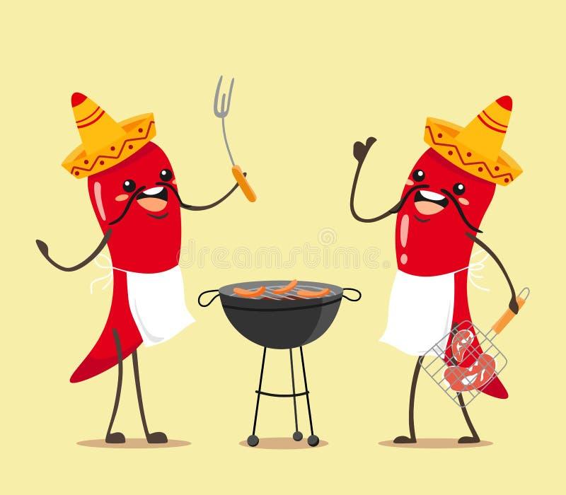 Les piments mexicains drôles font des barbecues Personnages de dessin animé de vecteur pour un barbecue ensoleillé et d'été illustration de vecteur