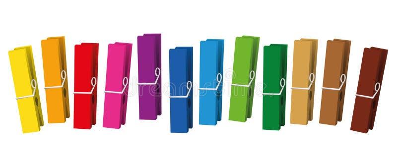Les pinces à linge ont coloré des pinces à linge illustration libre de droits