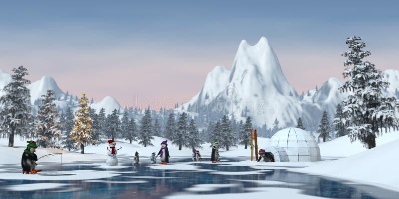 Les pingouins dans une montagne neigeuse de Noël aménagent en parc, 3d rendent illustration libre de droits