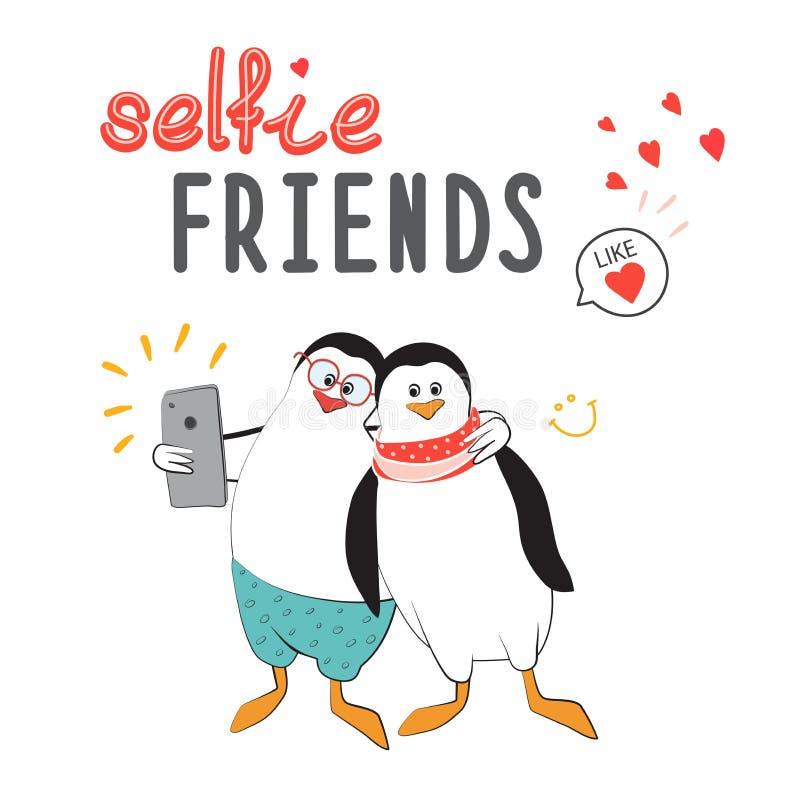 Les pingouins frais d'amis font des selfies Conception pour l'autocollant, correction, affiche, journal intime personnel Mode pou illustration de vecteur