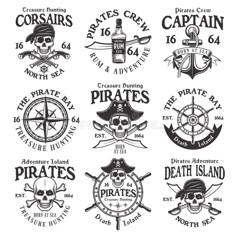 Les pirates ont placé des emblèmes ou des insignes de vintage de vecteur illustration libre de droits