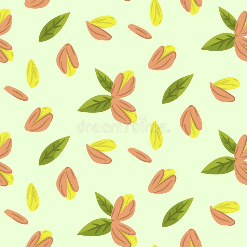 Les pistaches dirigent la texture sans couture de modèle d'illustration de bande dessinée illustration de vecteur