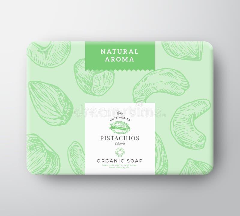 Les pistaches savonnent la boîte en carton Le vecteur abstrait a envelopp? le r?cipient de papier avec la couverture de label Con illustration de vecteur