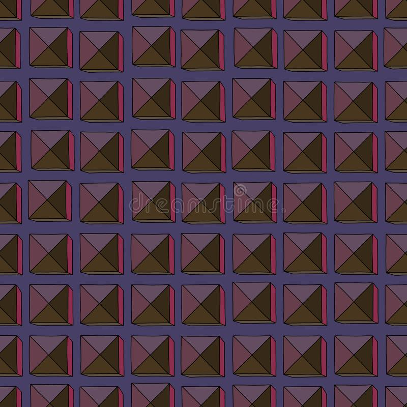 Les places abstraites tirées par la main dirigent le modèle sans couture Fond géométrique coloré pour la conception extérieure, t illustration libre de droits