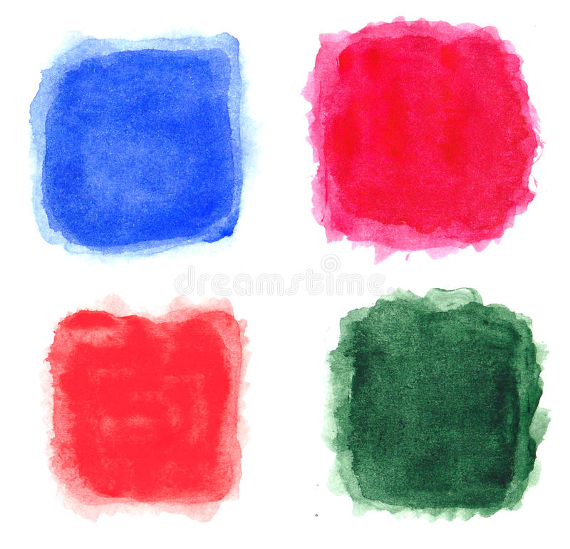 Les places d'aquarelle ont isolé 4 dans 1 illustration de vecteur