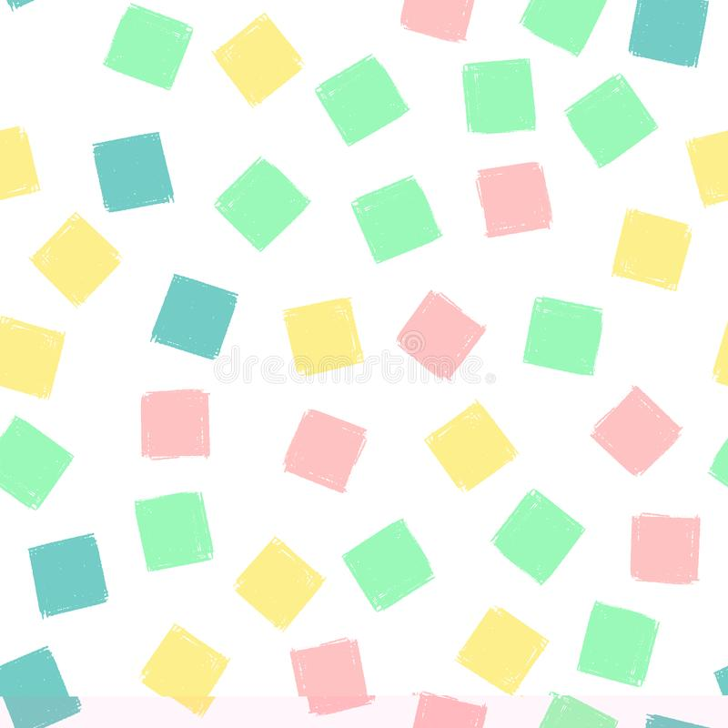 Les places d'aspiration de main modèlent des enfants bleus, rose, en bon état, jaune Texture sans fin de crayon de fond de vecteu illustration stock