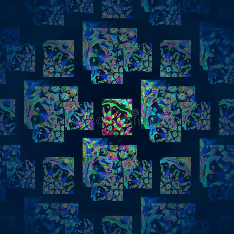 Les places et les rectangles modèlent le recouvrement avec les éléments pourpres et vert clair sur le noir centré et brouillé illustration stock
