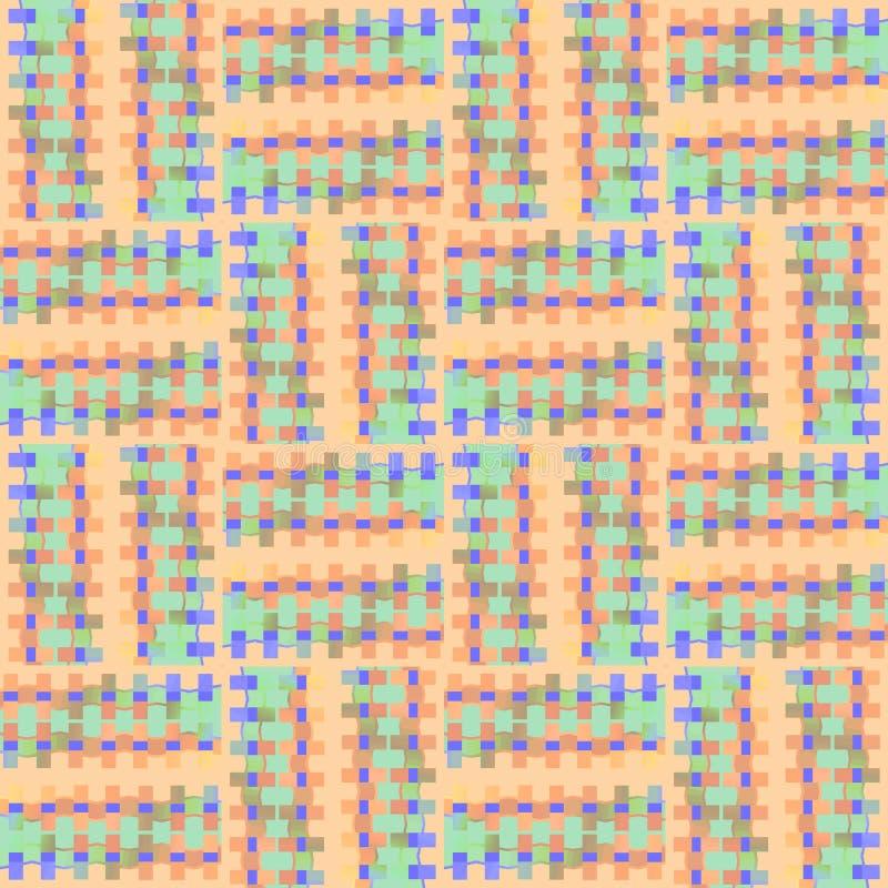 Les places et les rectangles sans couture réguliers modèlent le pourpre vert en bon état d'orange décalé illustration stock