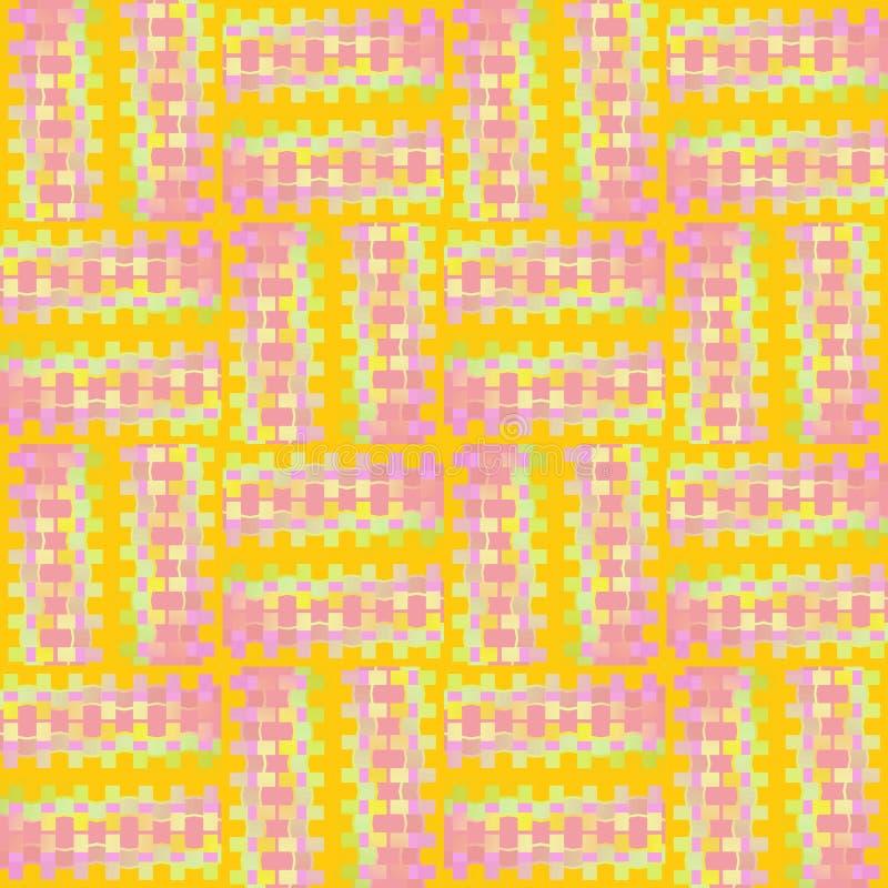 Les places et les rectangles sans couture réguliers modèlent le vert de rose, de violette, pourpre et en bon état sur le jaune dé illustration de vecteur