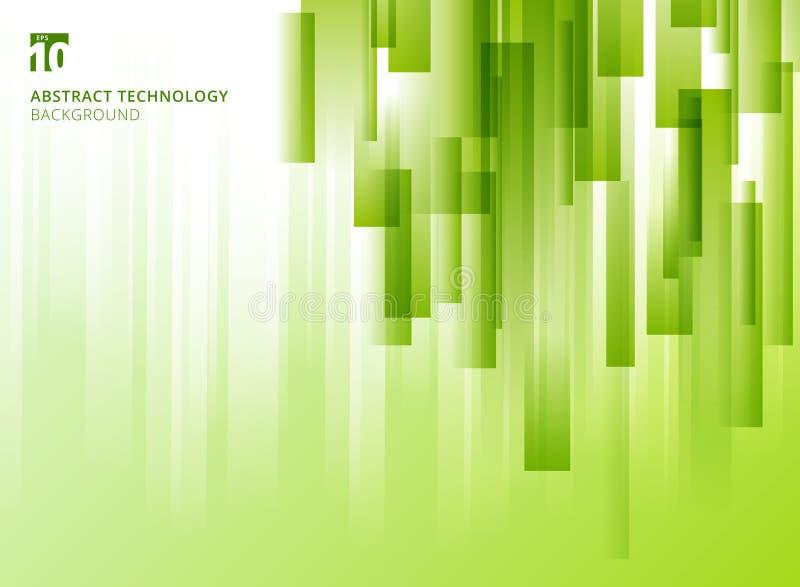 Les places géométriques de chevauchement vertical de nature de résumé forment la couleur naturelle verte sur le fond blanc avec l illustration stock