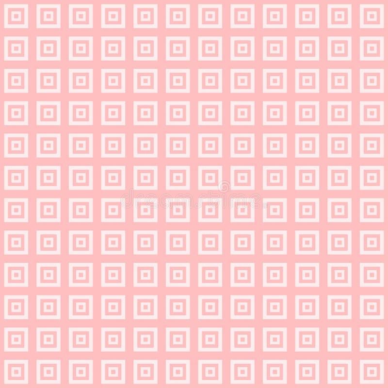 Les places roses et blanches à l'intérieur des places cubent le fond de modèle illustration de vecteur