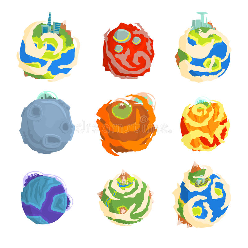 Les planètes colorées de l'ensemble de système solaire pour le label conçoivent Illustrations détaillées de vecteur de bande dess illustration stock