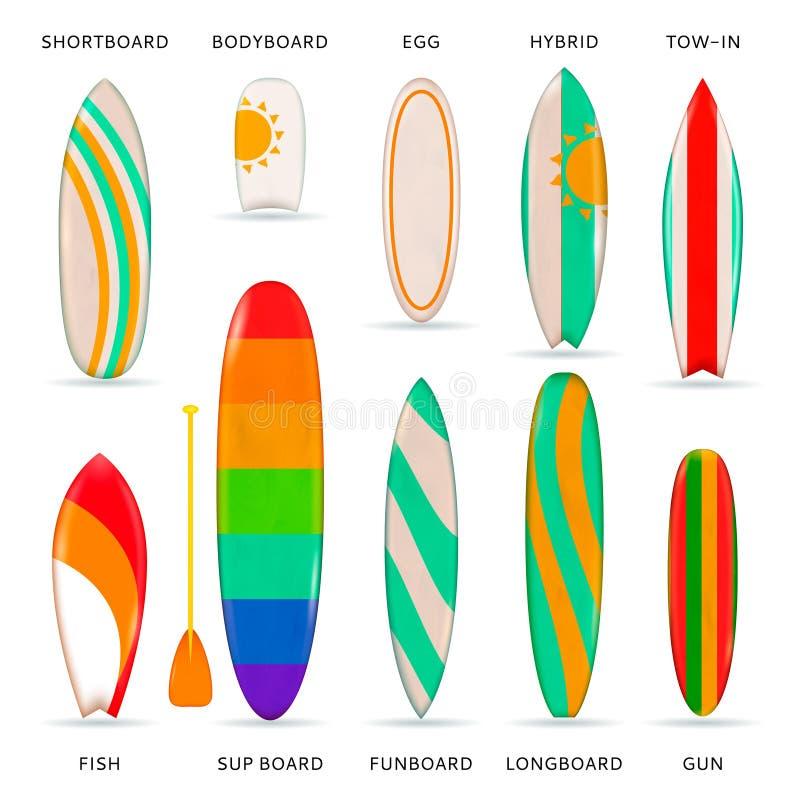 Les planches de surf ont coloré la collection réaliste illustration stock