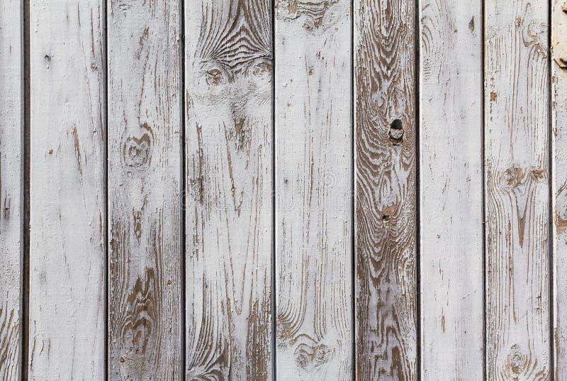 Les planches en bois de mur ont peint le blanc gris photo stock